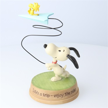 Snoopy Woodstock on Paper Airplane Figurine