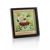 Snoopy and Woodstock Friends are Family Framed Print
