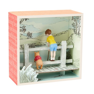 Disney Winnie the Pooh and Christopher Robin on a Bridge Shadow Box
