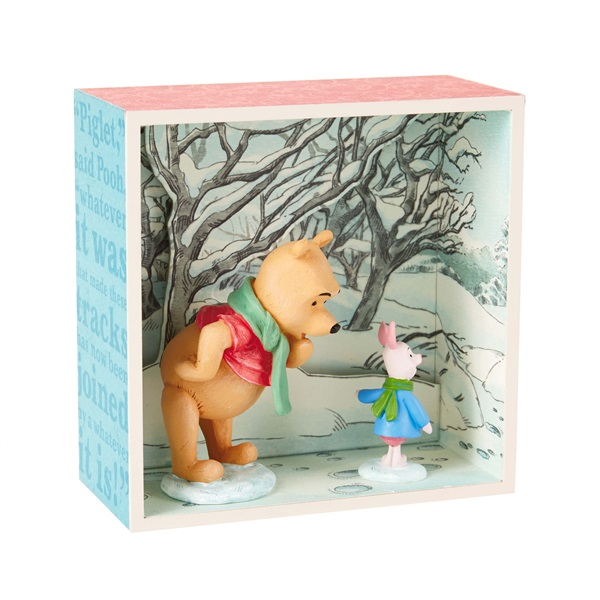 Disney Winnie the Pooh and Piglet in Snow Shadow Box