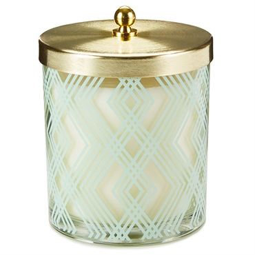 Art Deco Votive Candle With Lid, 8.1 oz.