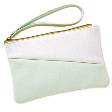 Mint Green and White Color Block Wristlet Purse