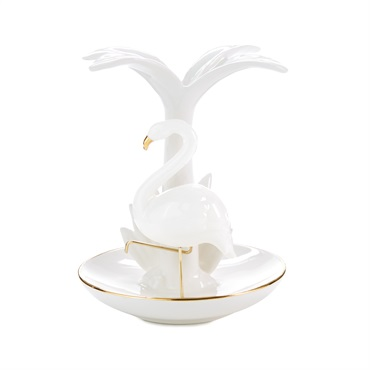 Tropical Flamingo and Palm Tree Ring Holder