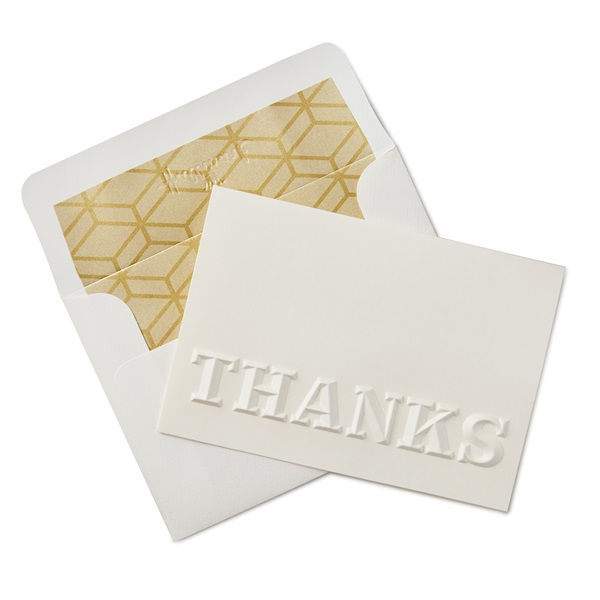 white embossed thank you notes ありがとう signature ホールマーク