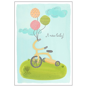 Tricycle New Baby Congratulations Card【赤ちゃん誕生お祝い/Gold Crown Studio】