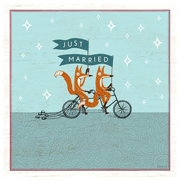 Just Married Foxes Wedding Card【結婚お祝い/Studio Ink】