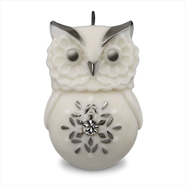 Lovely Li'l Owl With Snowflake Porcelain Mini Ornament