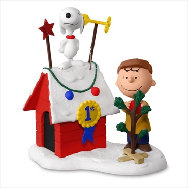 PEANUTS(R) Charlie Brown and Snoopy Decked-Out Doghouse Sound Ornament With Light