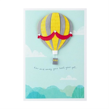 Far and Away Hot Air Balloon Birthday Card【誕生お祝い/Signature】
