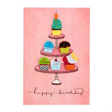 Colorful Cupcakes Birthday Card【誕生お祝い/Signature】