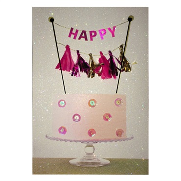 Happy Pink Cake Birthday Card【誕生お祝い/Signature】