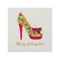 Jeweled Stiletto Shoe Wish Big Birthday Card【誕生お祝い/Signature】