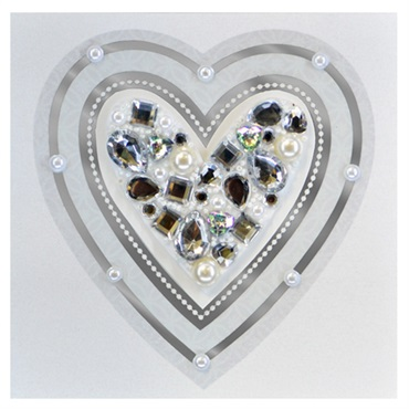 Jeweled Heart Blank Card【多目的/Signature】