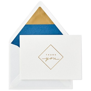Gold Diamond Blank Thank You Note Cards【ありがとう/Signature】