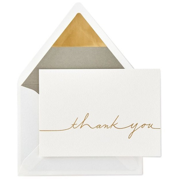 gold cursive blank thank you note cards ありがとう signature