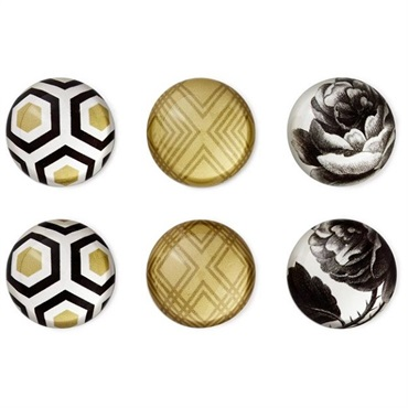 Classic Rose and Geometric Glass Magnets, Set of 6