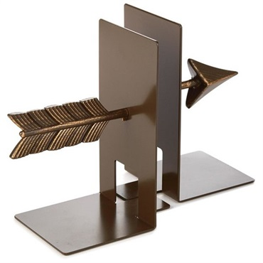 Natural Metal Arrow Bookends, Set of 2