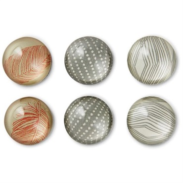 Natural Glass Magnets, Set of 6
