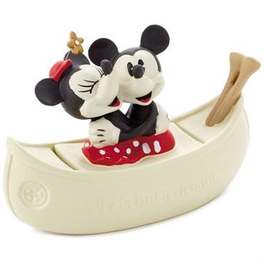 Mickey and Minnie in Boat Porcelain Trinket Box