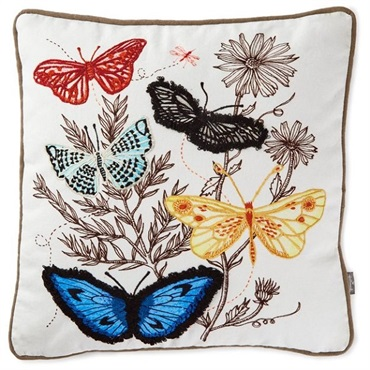 Geninne Zlatkis Flowers and Butterflies Embroidered Pillow
