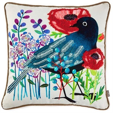 Geninne Zlatkis Flowers and Bird Embroidered Pillow