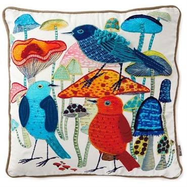 Geninne Zlatkis Birds and Mushrooms Embroidered Pillow