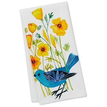Geninne Zlatkis Bird and Pansies Tea Towel