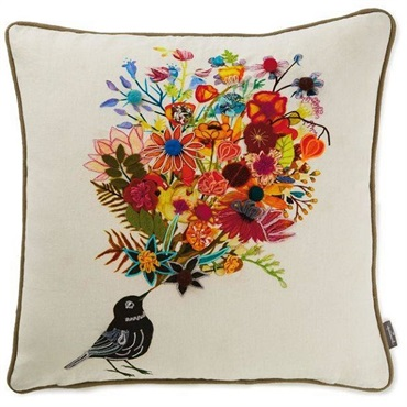 Geninne Zlatkis Bird With Bouquet Embroidered Throw Pillow