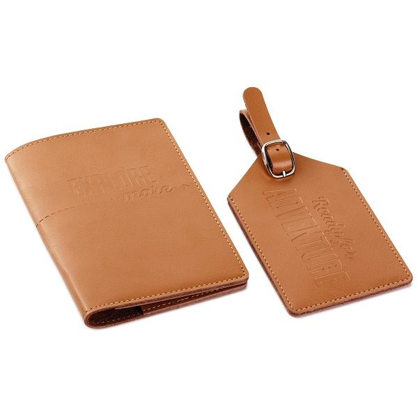 Adventure Leather Passport Holder and Luggage Tag Set