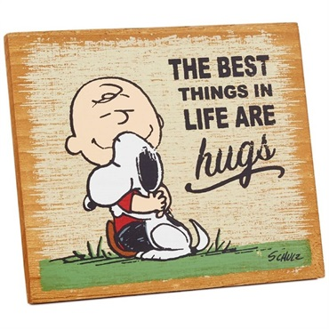Peanuts (R) The Best Things Are Hugs Wood Quote Sign