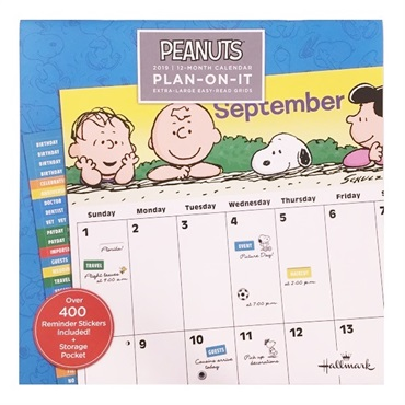 2019 Peanuts(R) Large Grid Wall Calendar With Stickers