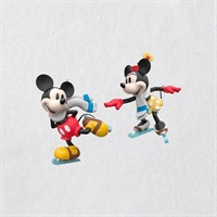 Disney Mickey and Minnie Mice on Ice Ornaments, Set of 2