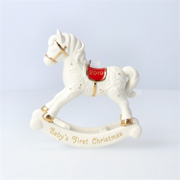 Baby's First Christmas Rocking Horse Porcelain Ornament