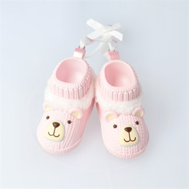 Baby Girl's First Christmas Pink Teddy Bear Booties 2019 Ornament