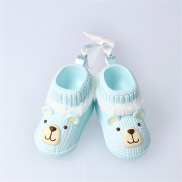 Baby Boy's First Christmas Blue Teddy Bear Booties 2019 Ornament