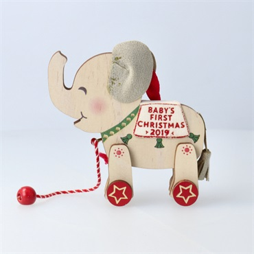 Baby's First Christmas Elephant Pull Toy 2019 Wood Ornament