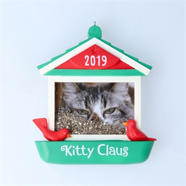 Kitty Claus Cat in Bird Feeder 2019 Photo Frame Ornament