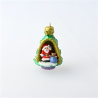 Mini A World Within Santa and Teddy Bear in Tree Ornament