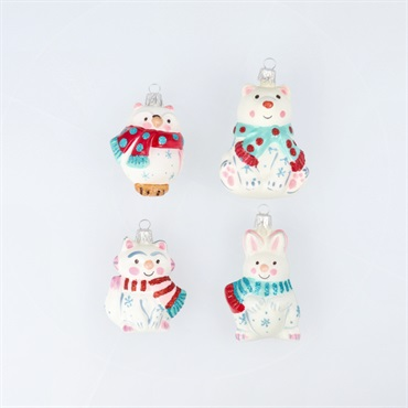 Mini Arctic Friends Blown Glass Ornaments, Set of 4