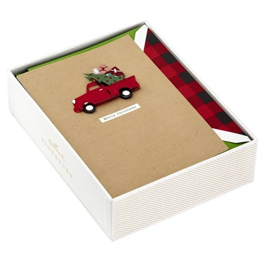 Red Truck With Presents Christmas Cards, Box of 10【クリスマスカードセット/Signature】